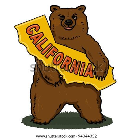 Bear holding A Map of California Illustration; Brown Bear Illustration - stock photo