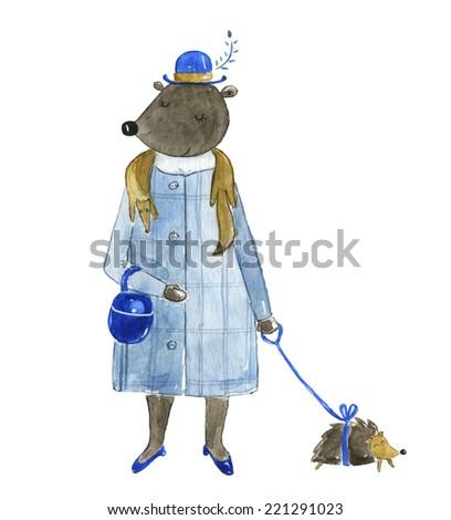 Bear lady watercolor - stock photo