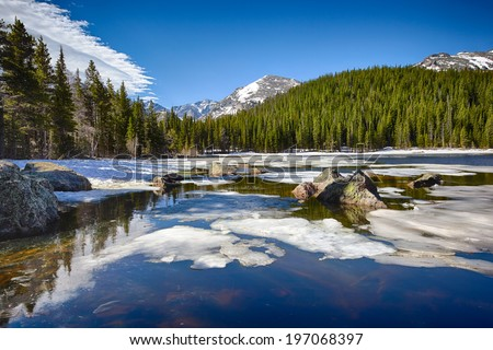Bear Lake at the Rocky Mountain National Park, Colorado, USA - stock photo