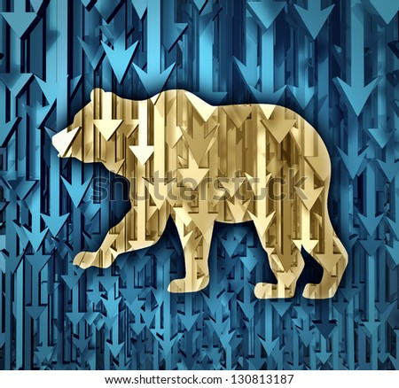 Bear market business concept as a group of organized arrows going down as investor doubt and lack of confidence in stock trading predicting future price decreases as a financial loss of wealth. - stock photo
