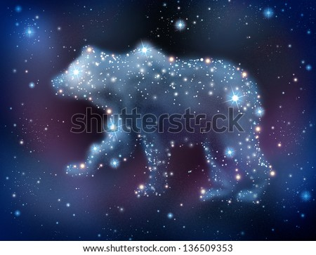 Bear market predictions concept and analyzing the stock market to predict a negative trend for investing with a night sky constellation of glowing stars shaped as a bearish symbol of trading loss. - stock photo