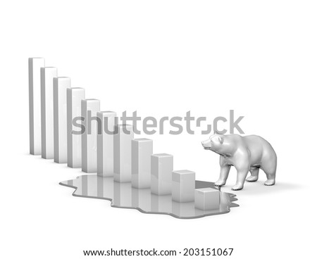 bear market with graph going down, stock market going downward and economic depression concept illustration isolated on white - stock photo