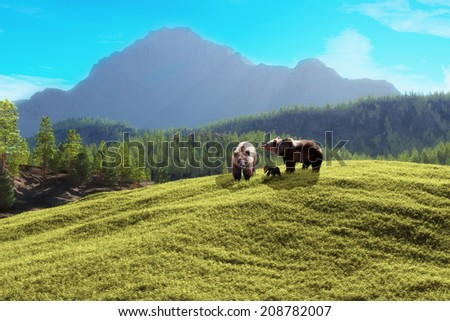 Bear mountain. Family of bears with a majestic mountain background.  - stock photo