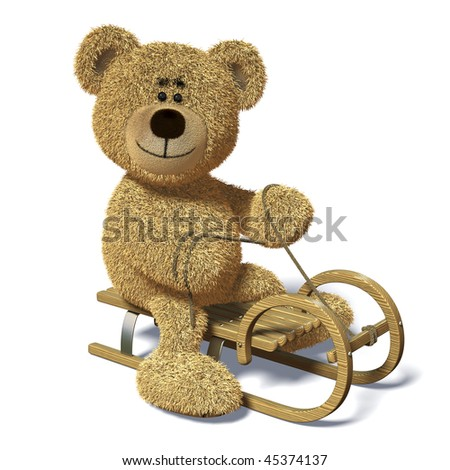 Bear smiles and rides a sledge. - stock photo