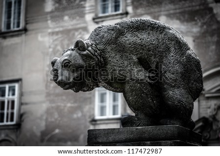 Bear statue, Nove Mesto nad Metuji, Czech Republic - stock photo