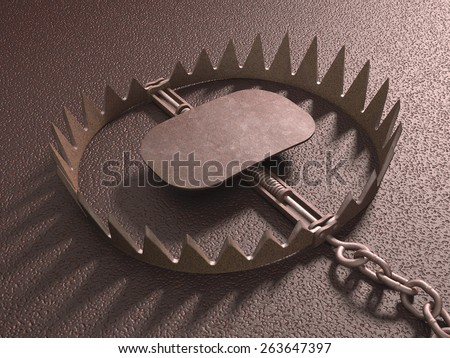 Bear trap on rough floor. Clipping path included. - stock photo