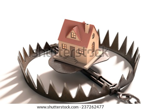 Bear trap with a house inside. Concept of mortgage, pledge and property financing.  - stock photo