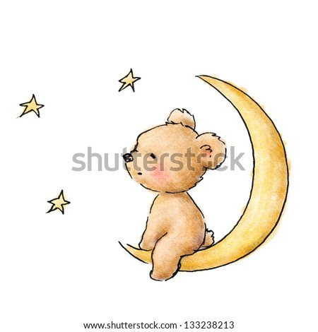 bear watching the stars - stock photo