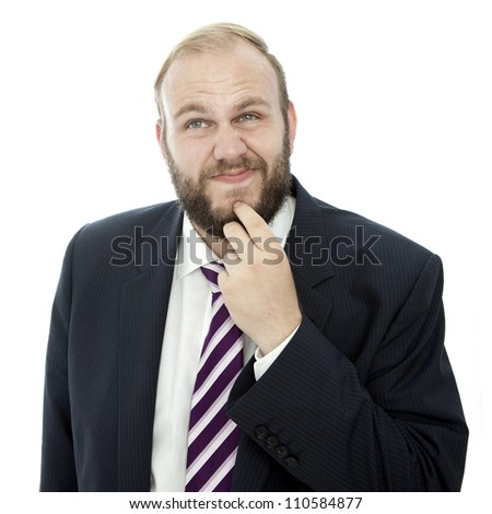 beard business man solving problem - stock photo