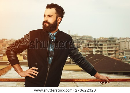 Beard man portrait - stock photo