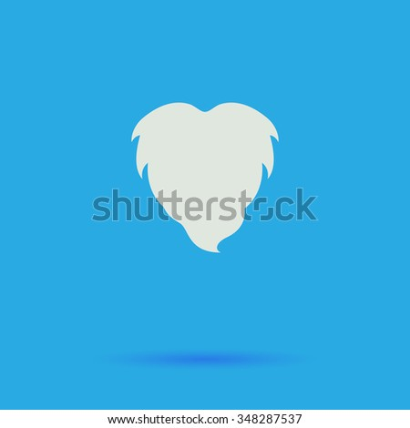 Beard White flat simple pictogram on blue background with shadow  - stock photo