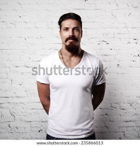 Bearded guy wearing white blank t-shirt - stock photo