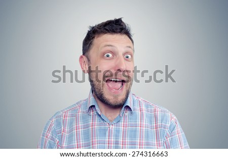 Bearded happy man positive, portrait - stock photo