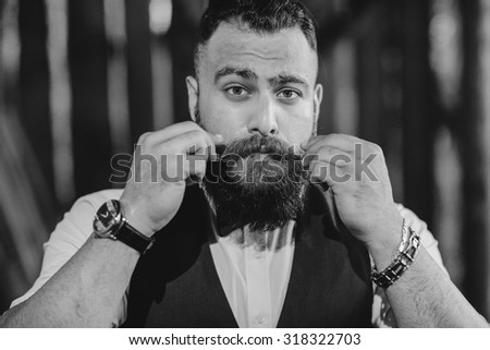 bearded man alone - stock photo