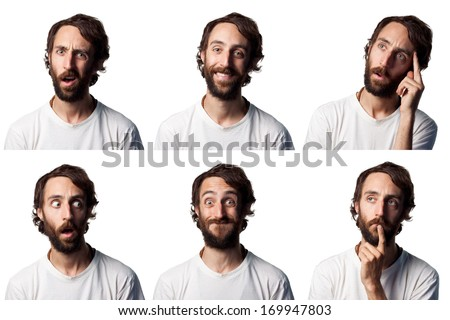 Bearded man collage, 6 different faces - stock photo