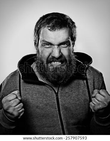bearded man, portrait, anger, serious, strict, threatening, Lambersexualci, lambersexual  - stock photo