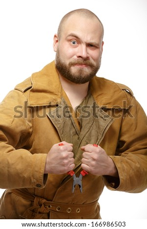 Bearded man with pliers. Isolate. White background. - stock photo