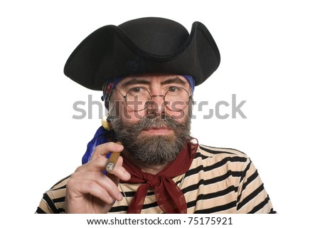 Bearded pirate smoking a cigar. Isolated on white. - stock photo
