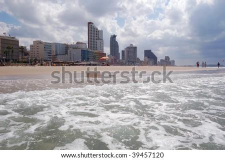 Beateful Tel-Aviv beach, Mediterranean seashore - stock photo