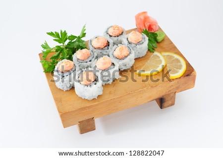 Beater of Spaysi Syake Hotate (salmon, comb, caviar of flying fish, spaysi-sauce) - stock photo