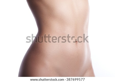 Beatiful body shapes. Slim waist, flat belly, soft clean skin. Perfect female body on white background. Sexy curves, sport form. Healthcare - stock photo