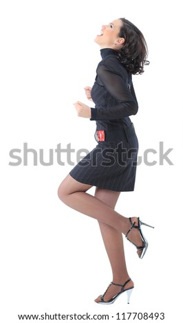 Beatiful business woman . Isolated on a white background. - stock photo
