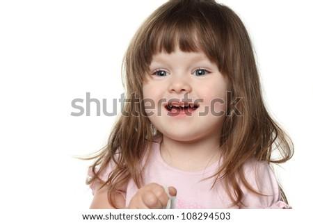beatiful little child in studio - stock photo