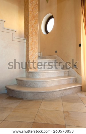 beatitful interior staircase with marble - stock photo