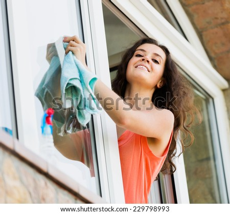 Beaty housewife cleaning windows with rag and smiling - stock photo
