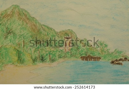 Beau Vallon beach, Mahe island, Seychelles.Handpainted watercolor illustration. I am the author and owner of this artwork. I provide a property release signed by myself and additional photo of the art - stock photo
