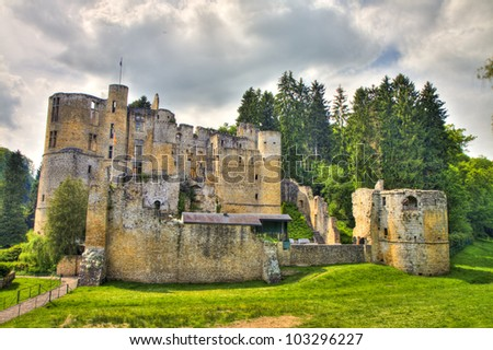 Beaufort castle ruins, Luxembourg - stock photo