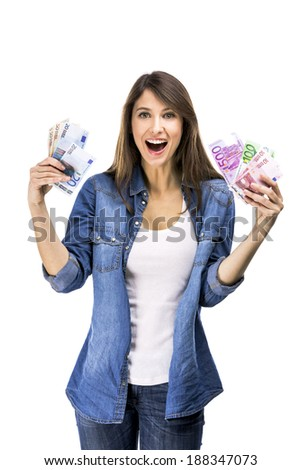 Beauitful woman holding some Euro currency notes, isolated over white background - stock photo