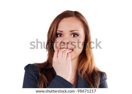 Beauitifull, brown-hair business lady, in suit on the white background. - stock photo