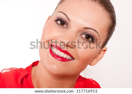 beautfiul brunette woman with red lips and big smile on white - stock photo