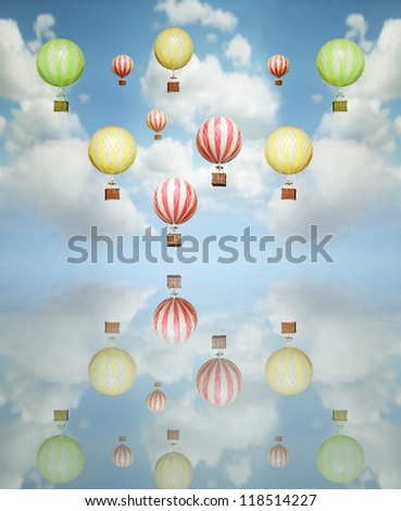 Beautiful abstract artistic background with many colorful hot air balloon in the sky with its reflection above - stock photo