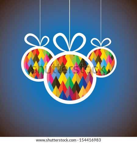 Beautiful abstract colorful Christmas balls. This graphic illustration shows three hanging balls decorated on xmas ( navidad ) eve on blue background  - stock photo