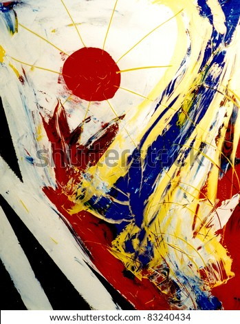 Beautiful Abstract image of acrylic on Glass original painting - stock photo