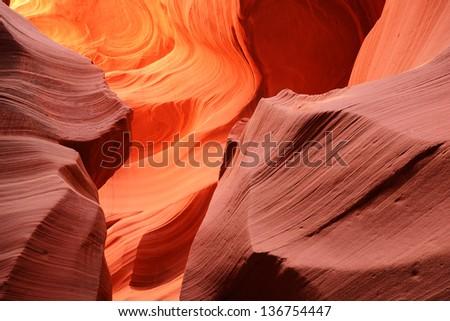 Beautiful Abstract Patterns of Lower Antelope Canyon near Page Arizona (Navajo Permit on File) - stock photo