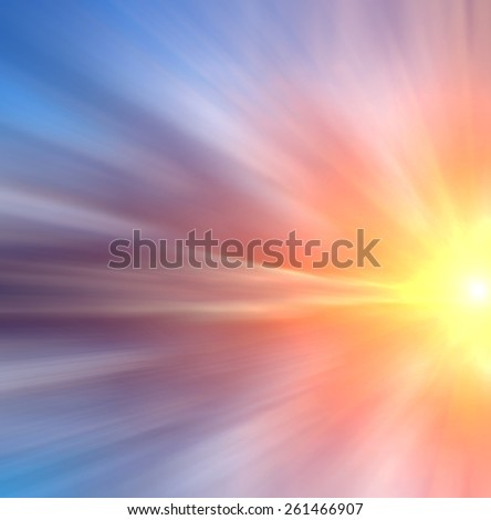 Beautiful abstract sun with color rays at sunset. Abstract composition - stock photo