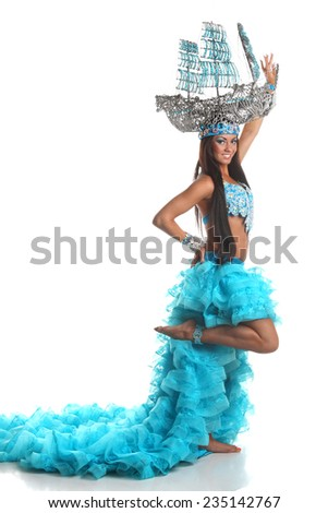 beautiful, active dancer in a lush, gorgeous dance costumes. dance movements, artistic emotions - stock photo