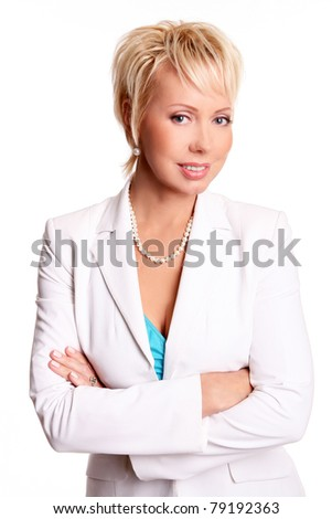 Beautiful adult businesswoman isolated on white - stock photo