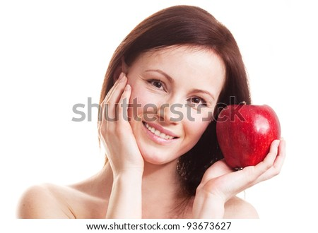 beautiful adult woman with an apple isolated against white background - stock photo