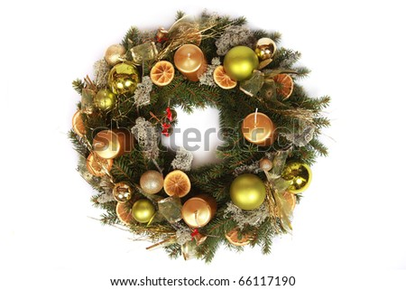 beautiful advent wreath isolated on white - stock photo