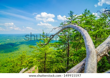 beautiful aerial landscape views from crowders mountain near gastonia north carolina - stock photo