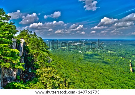 beautiful aerial landscape views from crowders mountain north carolina - stock photo