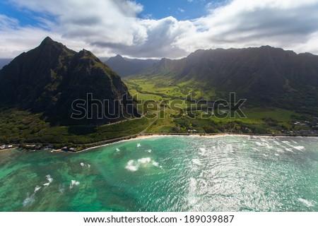 Beautiful aerial of Hawaii's coastline - stock photo