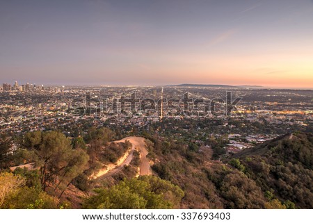 Beautiful aerial view in Los angeles. view from the observatory - stock photo