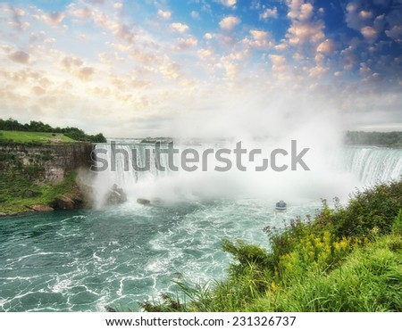 Beautiful aerial view of Niagara Falls on a summer day. - stock photo