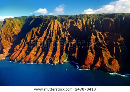 Beautiful aerial view of spectacular Na Pali coast, Kauai, Hawaii - stock photo