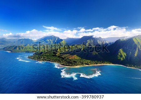 Beautiful aerial view of spectacular Na Pali coast, Kauai, Hawaii - stock photo